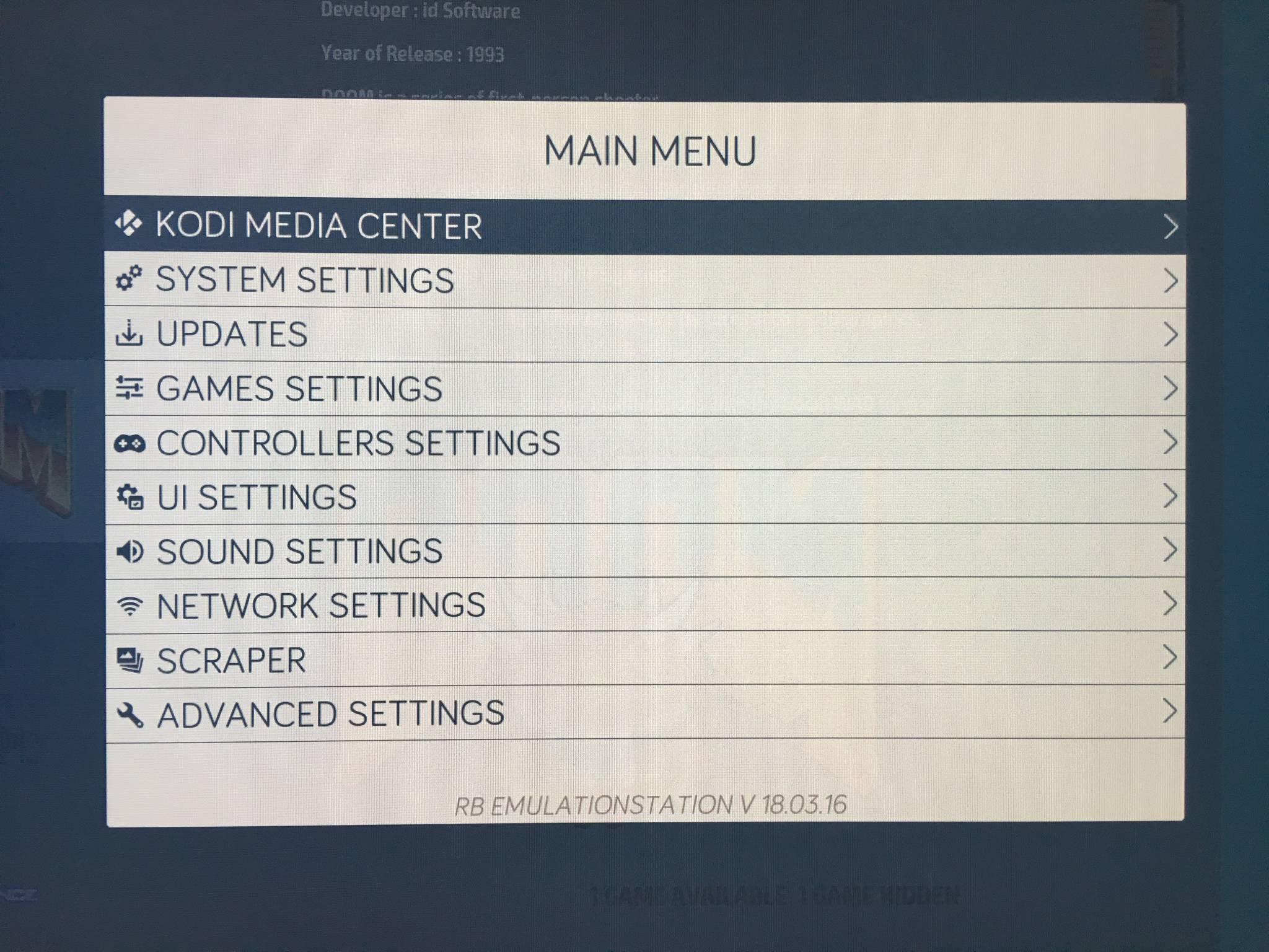 In den Settings könnt Ihr Sprache, WLAN-Verbindung oder Controller des Systems einstellen.