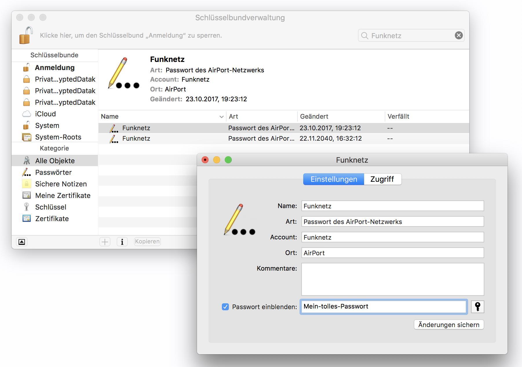 Unter MacOS findet Ihr das WLAN-Passwort in der Schlüsselbundverwaltung.