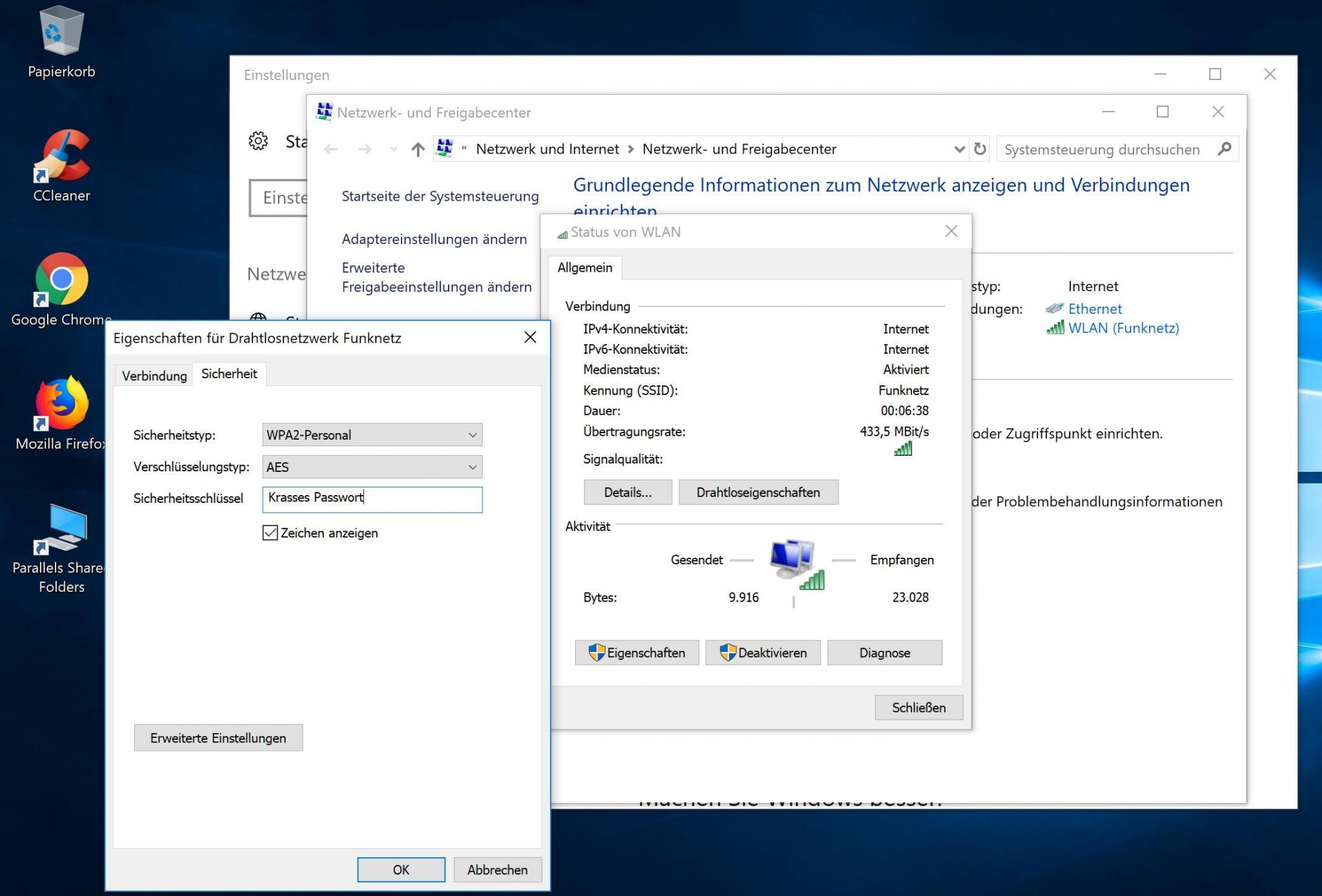 Viele Fenster, doch das Ergebnis ist die Anzeige des WLAN-Passworts unter Windows.