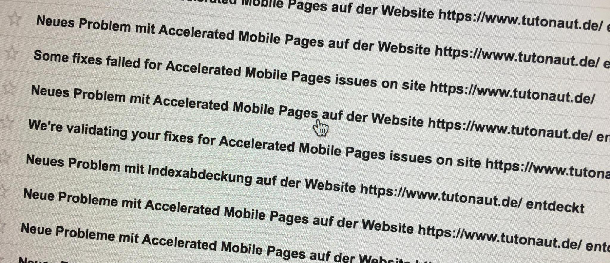 Und die Google Suchkonsole meckert... AMP-Implementierung ist alles andere als einfach.
