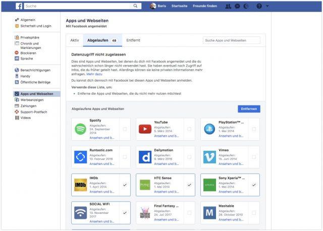 Facebook Apps abgelaufen