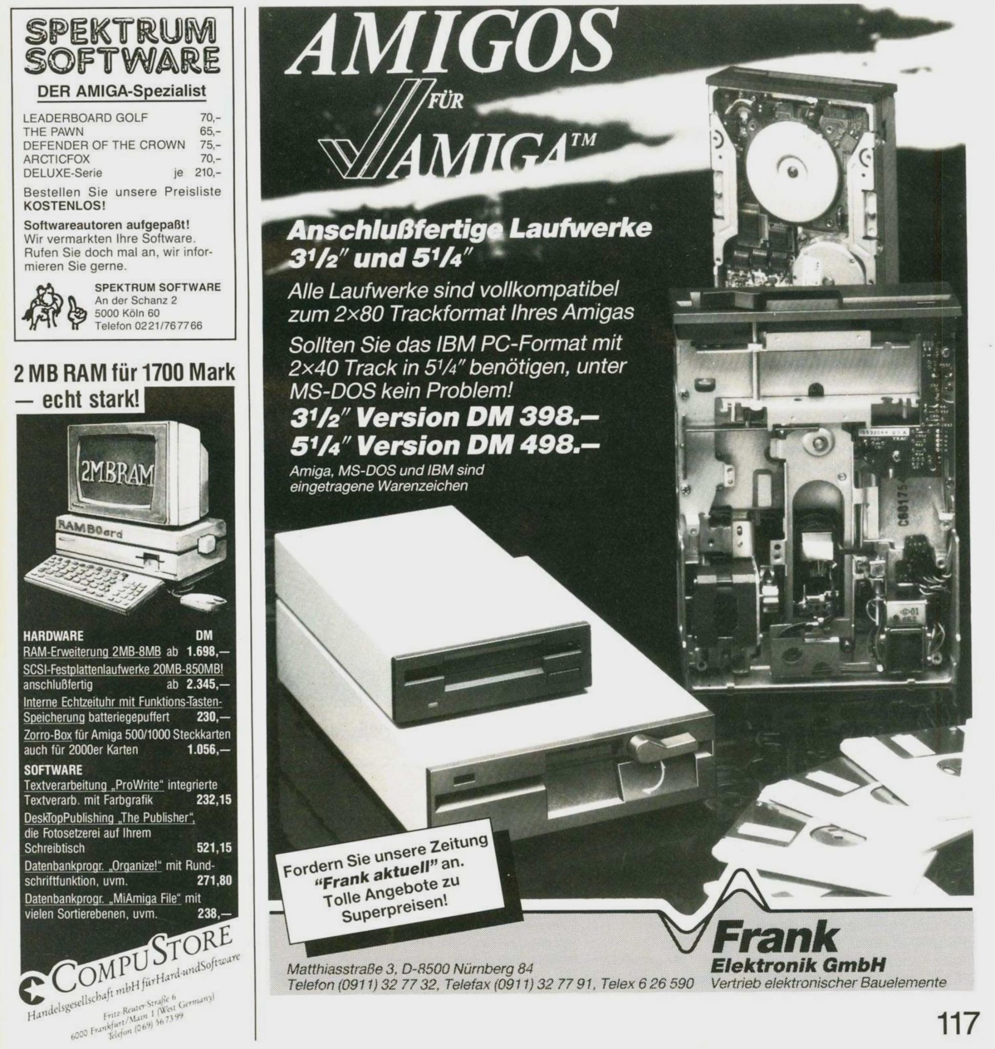 Werbung im Amiga Magazin von 1987.
