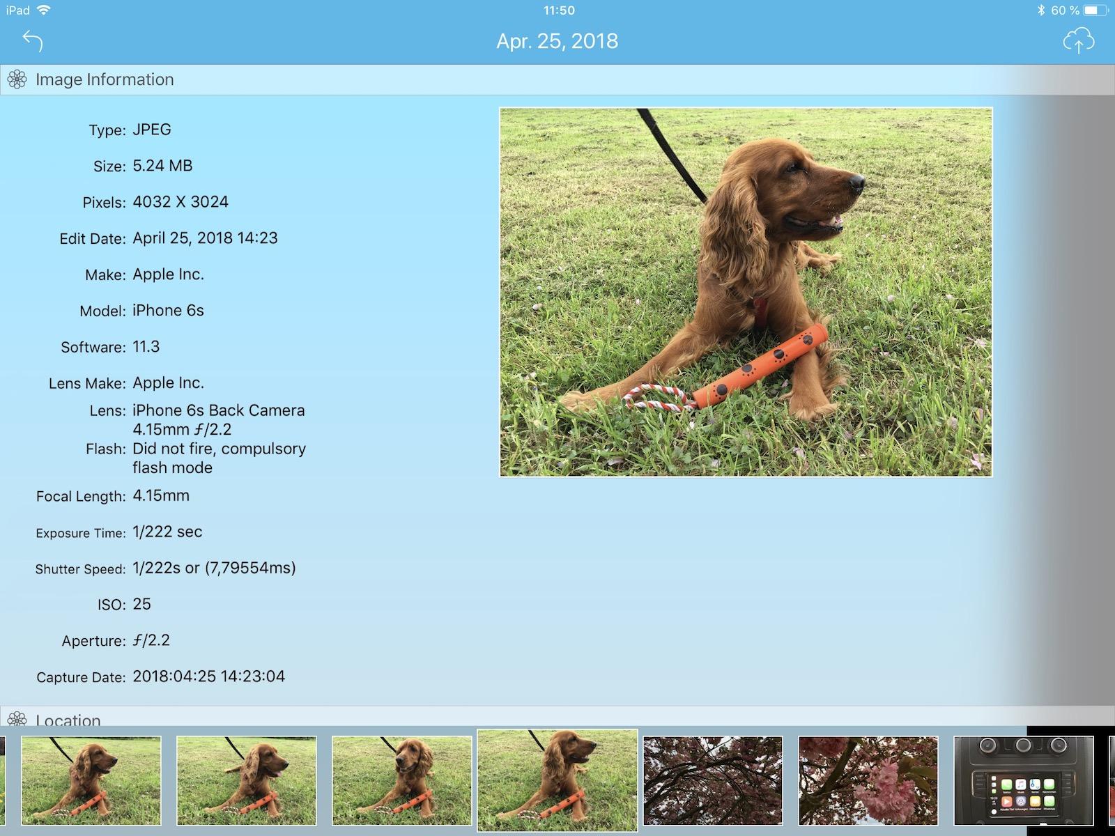 Wie groß ist mein Bild? Die App Photo-Data zeigt es Euch.