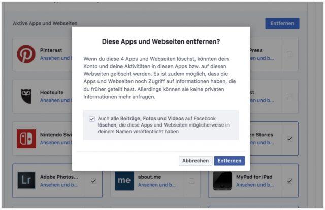 Apps löschen Facebook