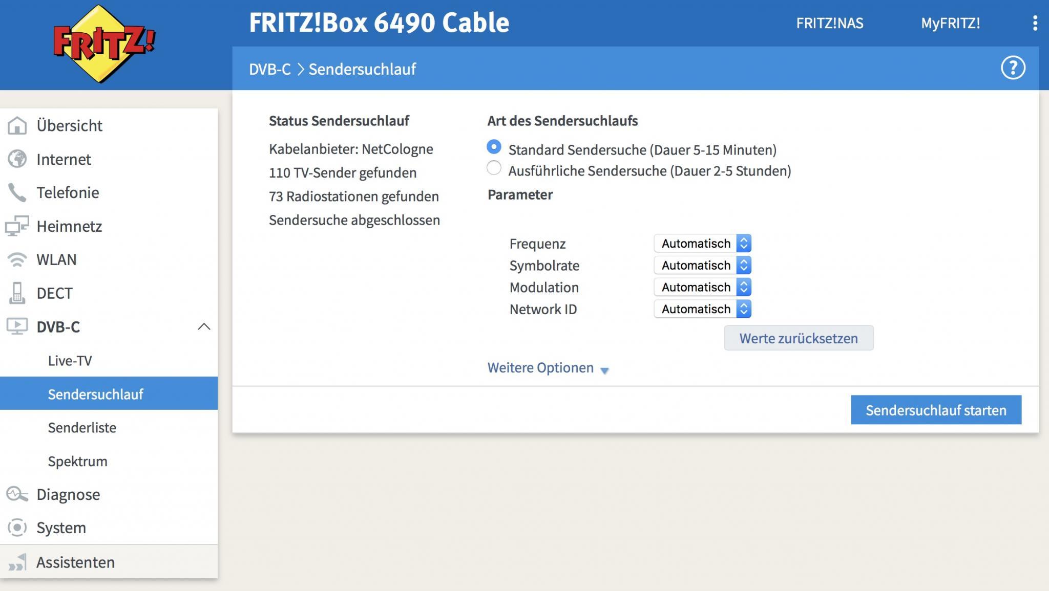 Die FritzBox streamt die Sender nach einem Sendersuchlauf...