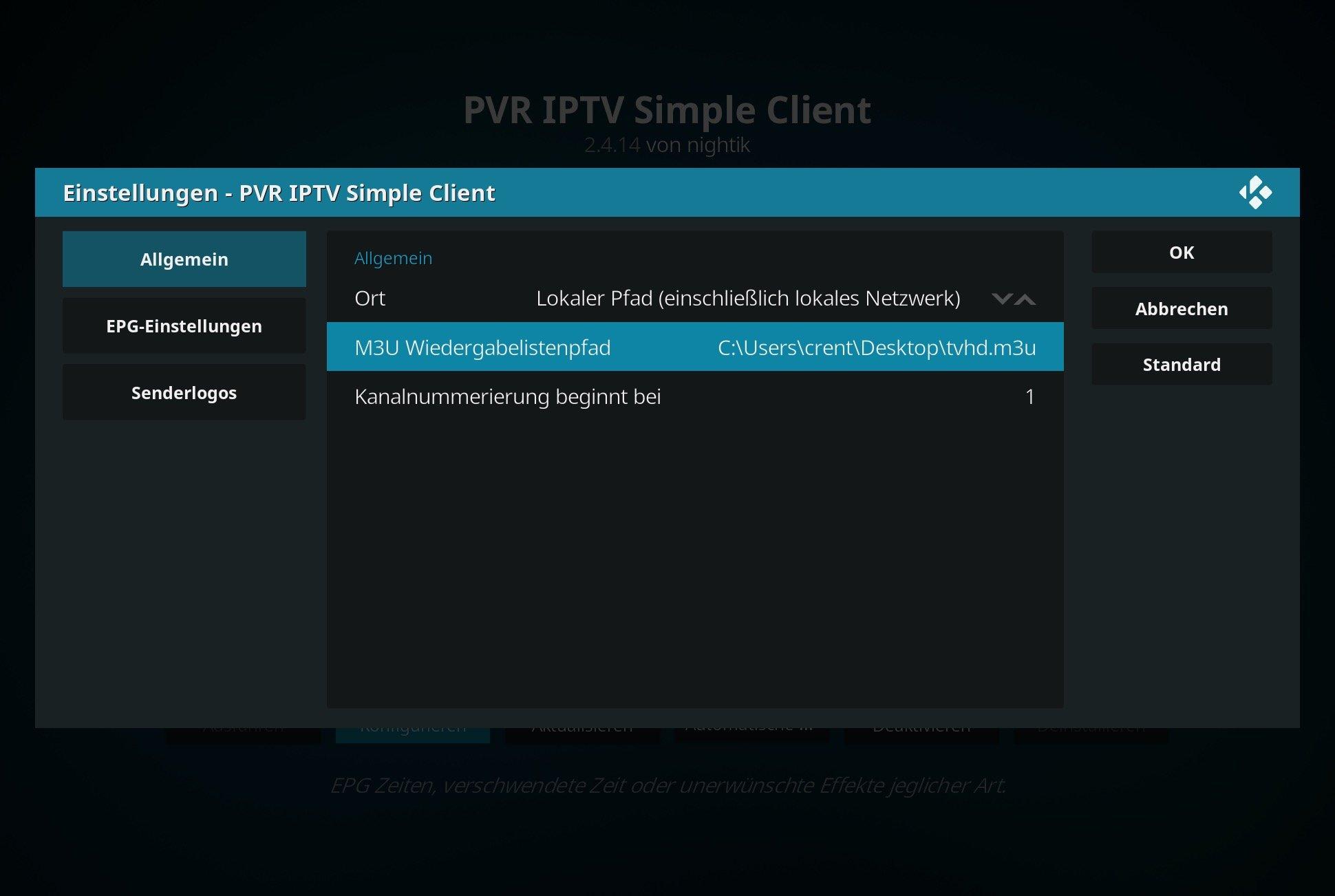 Hier müsst Ihr dann die eben heruntergeladene IPTV-Playlist der FritzBox angeben.