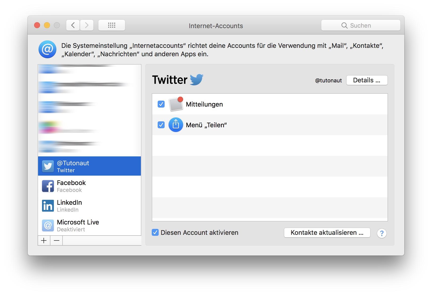 Ihr müsst zunächst Twitter in den Systemeinstellungen einrichten.