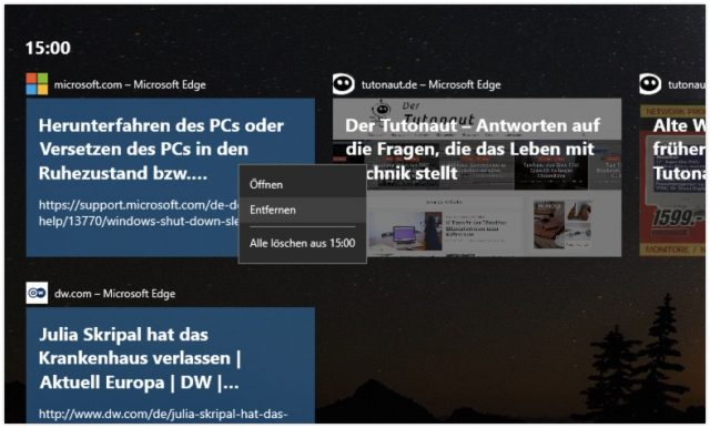 Windows 10 Timeline löschen