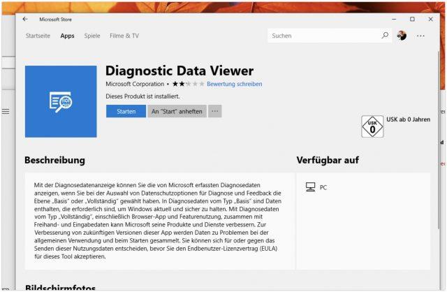 Diagnosedatenanzeige Windows 10
