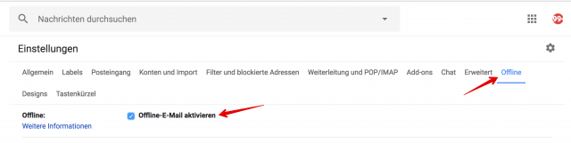 Gmail offline aktivieren
