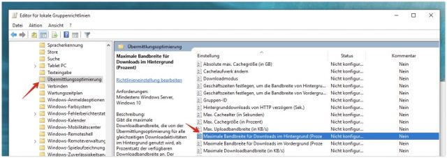 Windows 10 Gruppenrichlinieneditor Bandbreite