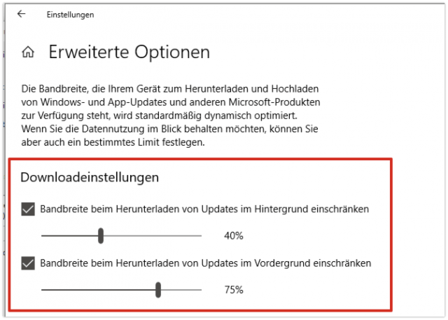 Windows 10 Updates Bandbreite
