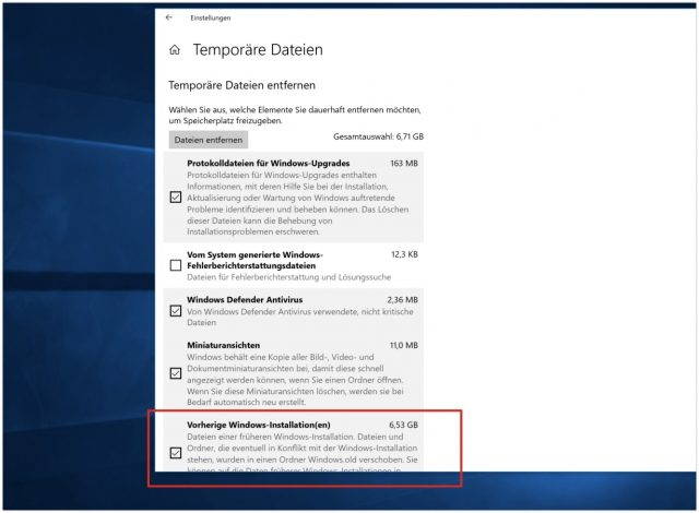 Temporäre Dateien Windows 10