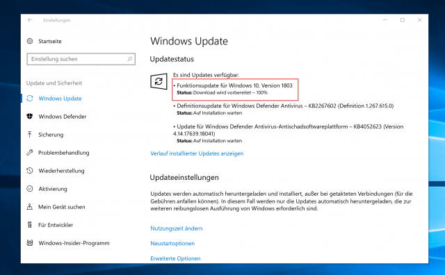 Windows Update 1803