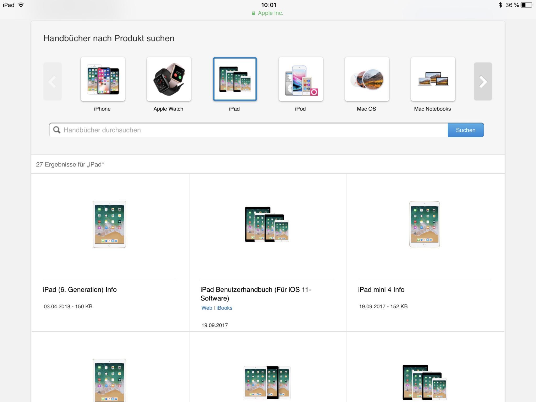 Die Apple-Website enthält die Handbücher für aktuelle Hard- und Software-Versionen.
