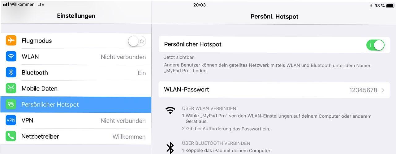 iPad mit LTE-Modem können als mobiler Hotspot verwendet werden.