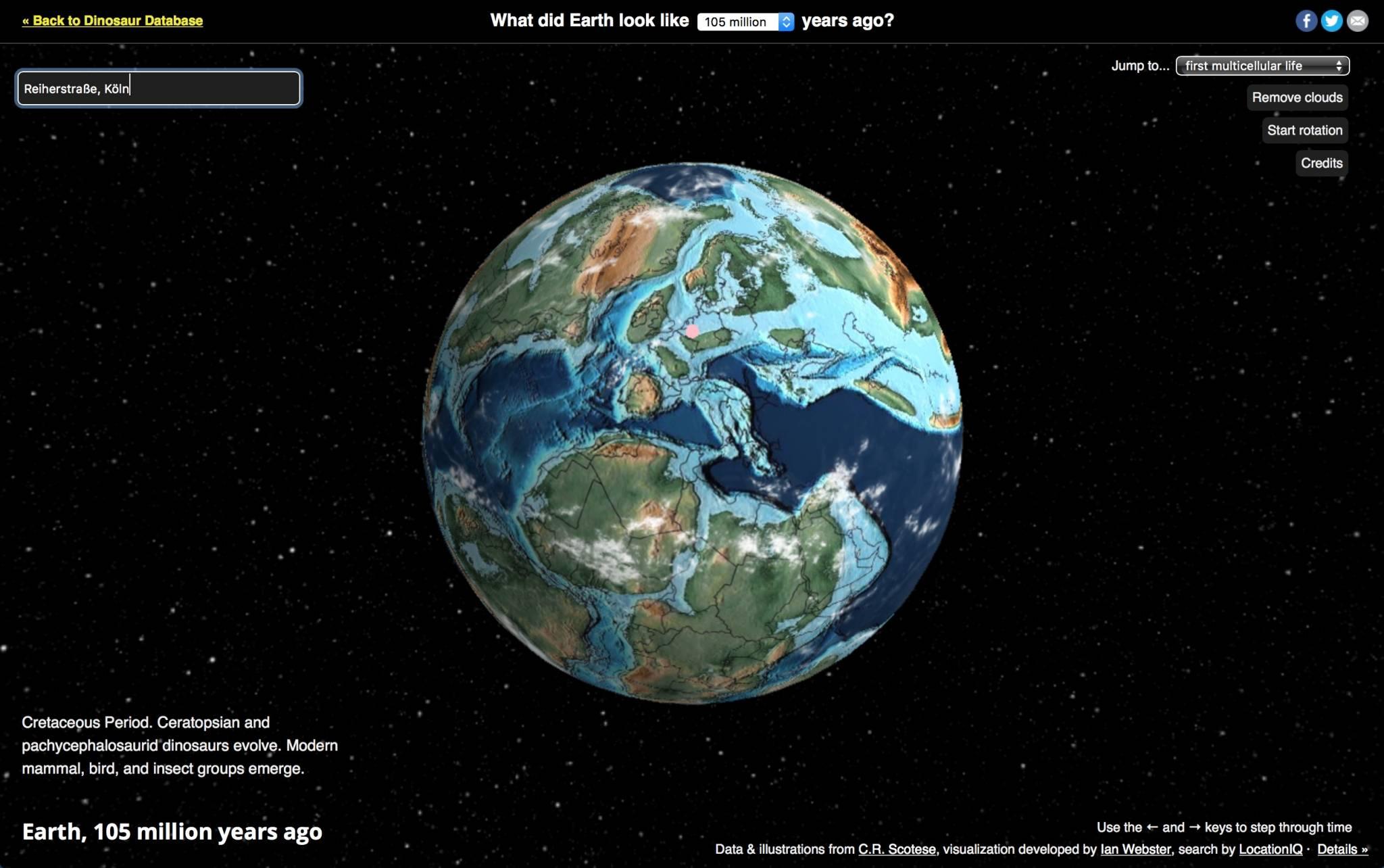 Der Ancient-Earth-Globe zeigt die Welt, wie sie früher war. Inklusive Adresssuche. (Bild: Screenshot dinosaurpictures.org)
