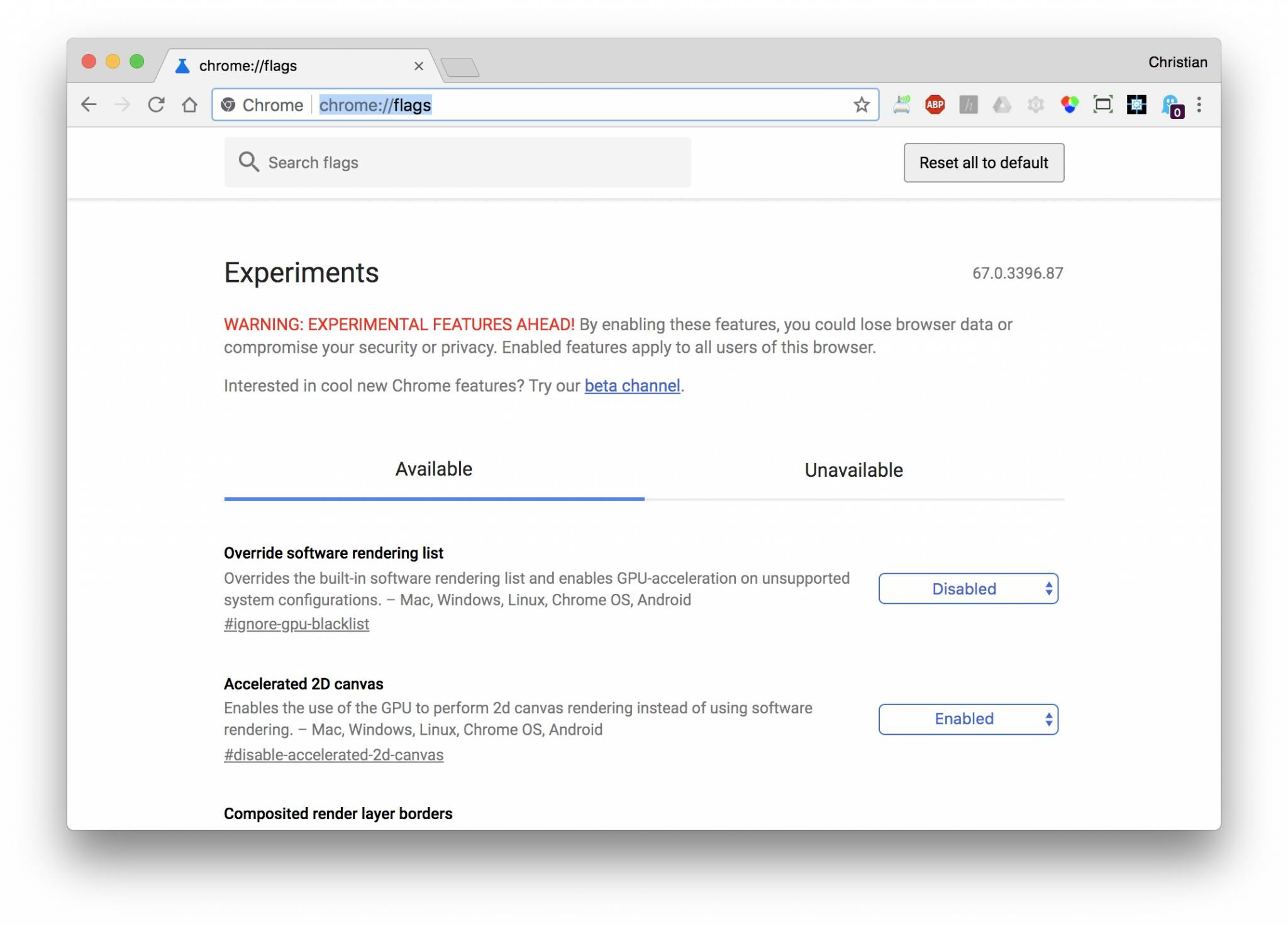 Die experimentellen Chrome-Features bieten volle Kontrolle über Chrome.