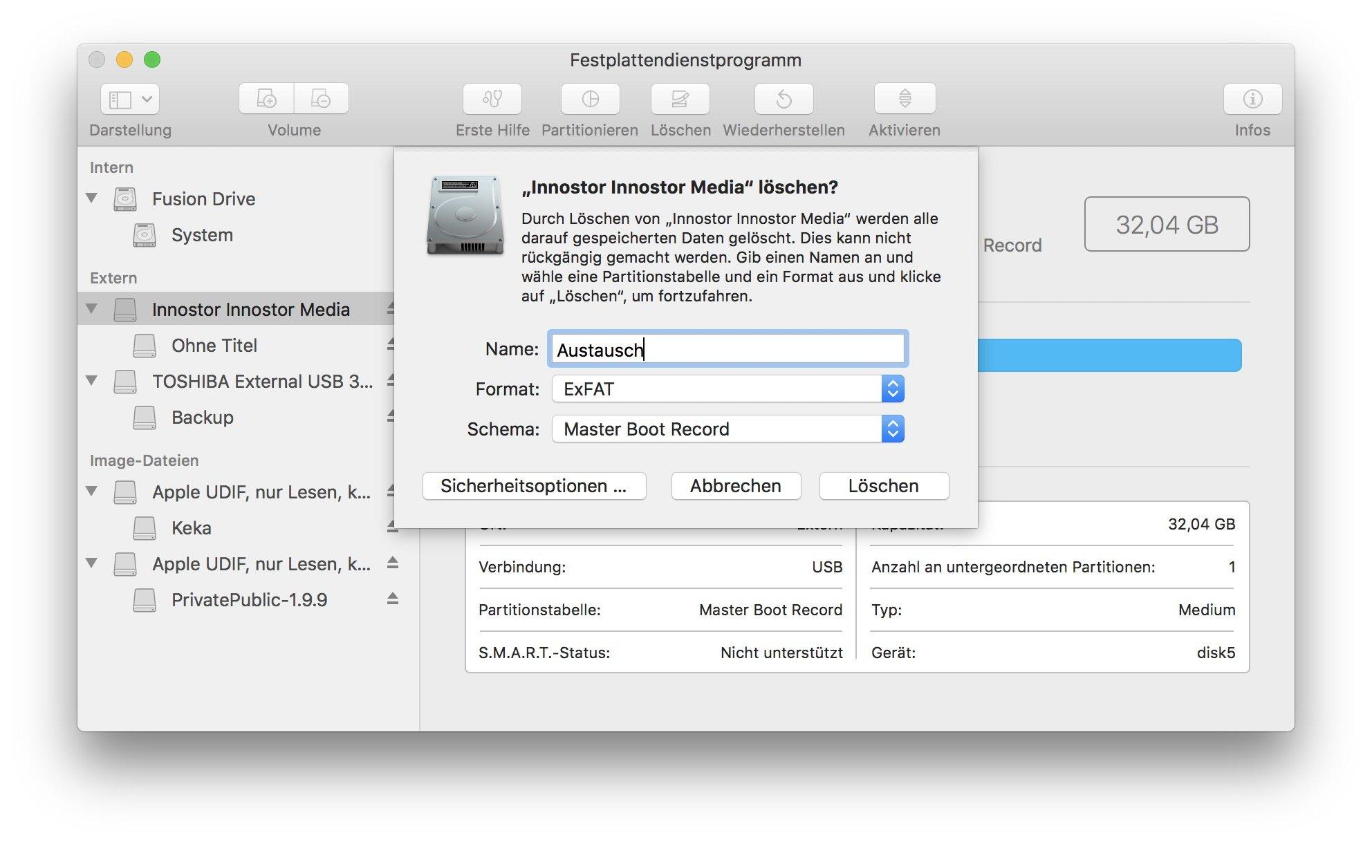 Unter MacOS könnt Ihr USB-Sticks schnell in exFAT formatieren.