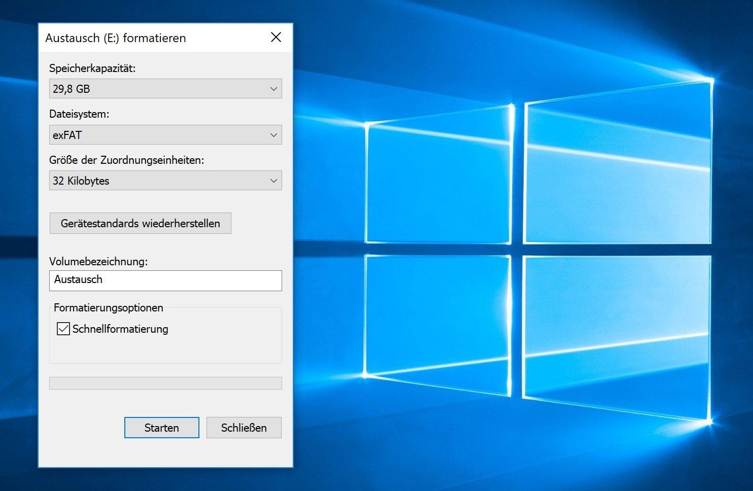 Die ExFAT-Formatierung unter Windows ist ein Kinderspiel.