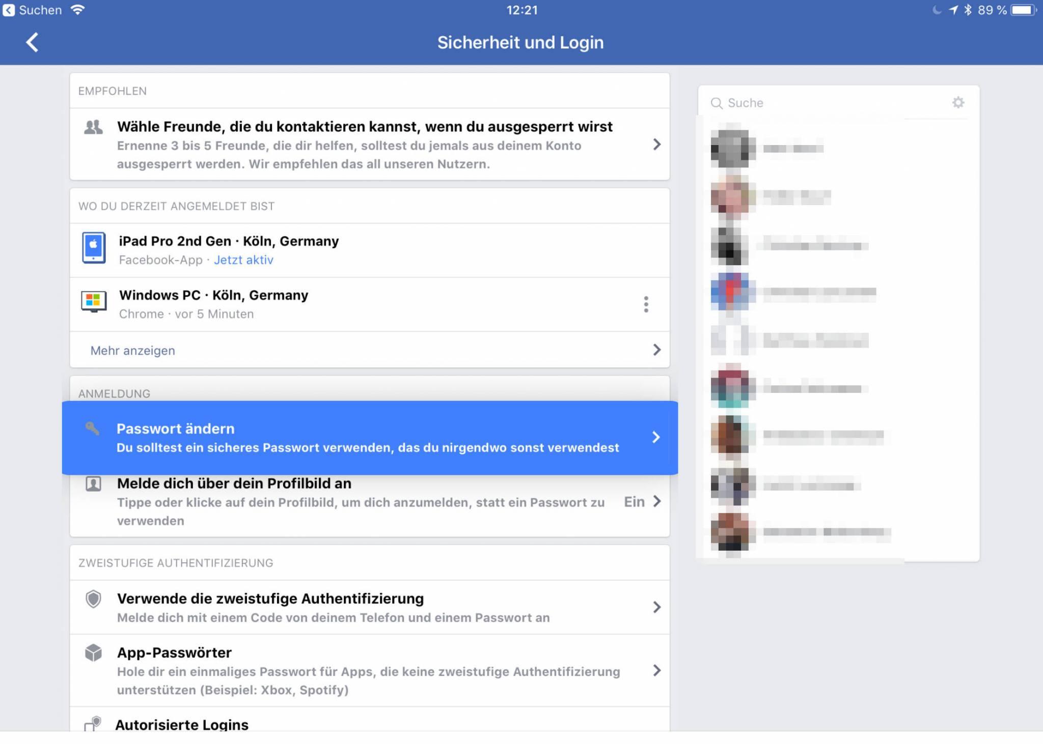 Facebook Login ändern
