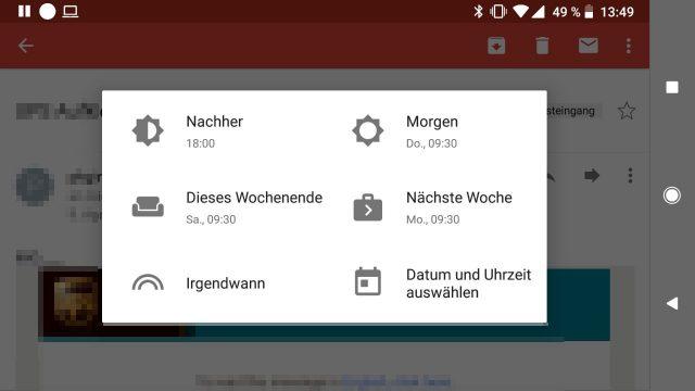Zurückstellen Mails Android