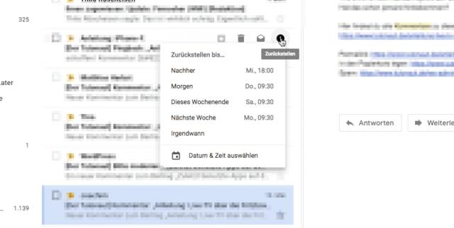 Mails zurückstellen PC