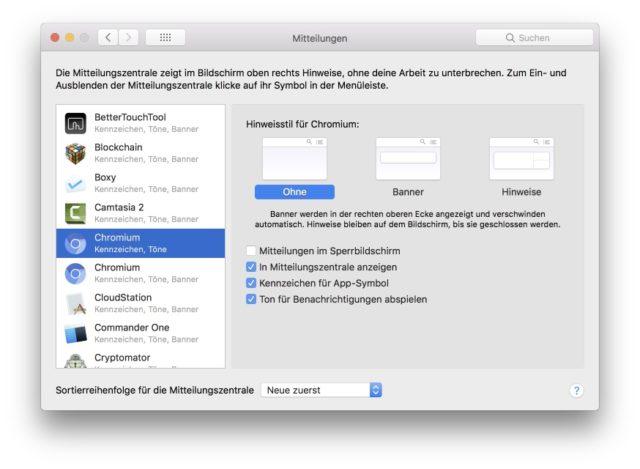 macOS Benachrichtigungen einstellen