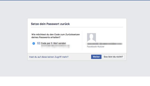 Facebook Passwort zurücksetzen