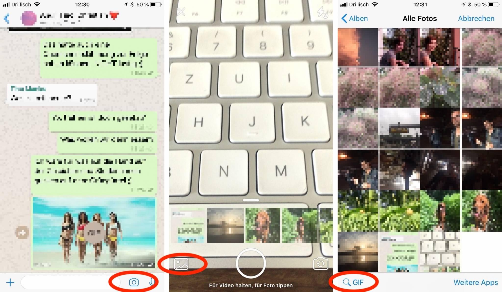 Die GIF-Funktion in WhatsApp ist in der Bilder-Funktion versteckt.