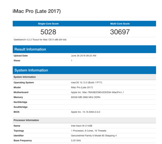 iMac Pro Geekbench