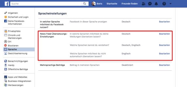 Facebook Spracheinstellungen