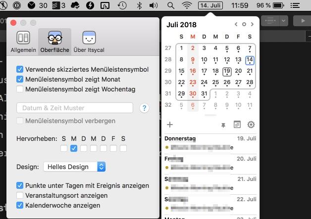 Itsycal Kalender