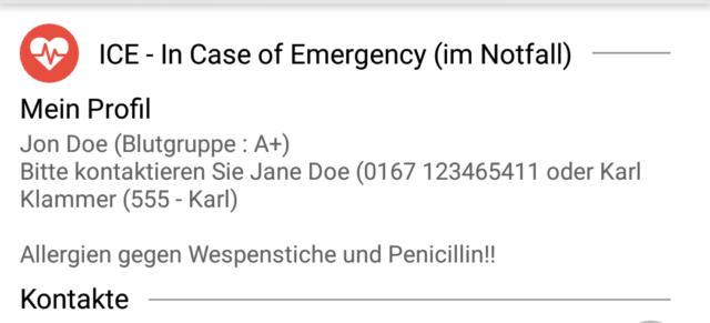 Notfalldaten Sperrbildschirm
