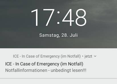 Notfallinformationen Startbildschirm