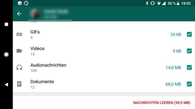WhatsApp Daten löschen