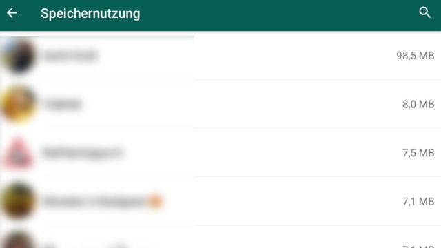 WhatsApp-Speichernutzung
