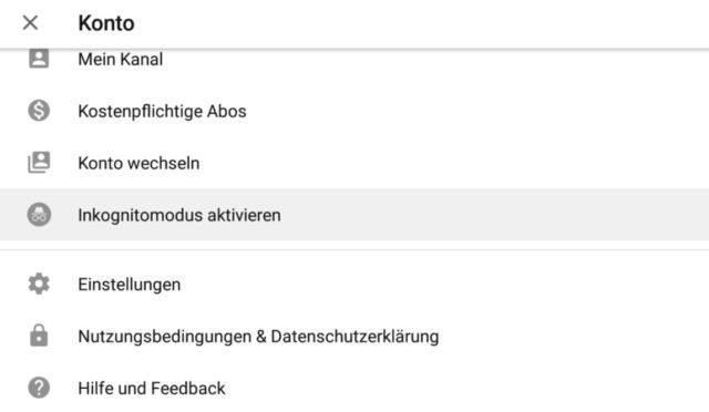 YouTube Inkognito-Modus
