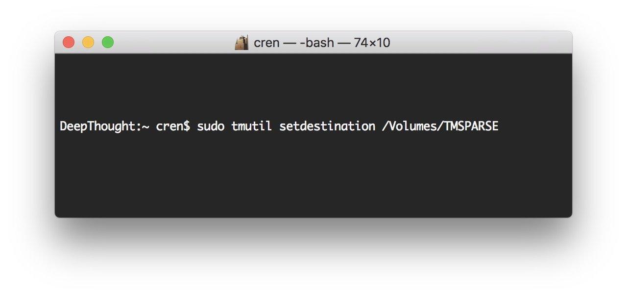 Mit einem Terminal-Befehl setzt Ihr das Bundle als Backup-Ziel.