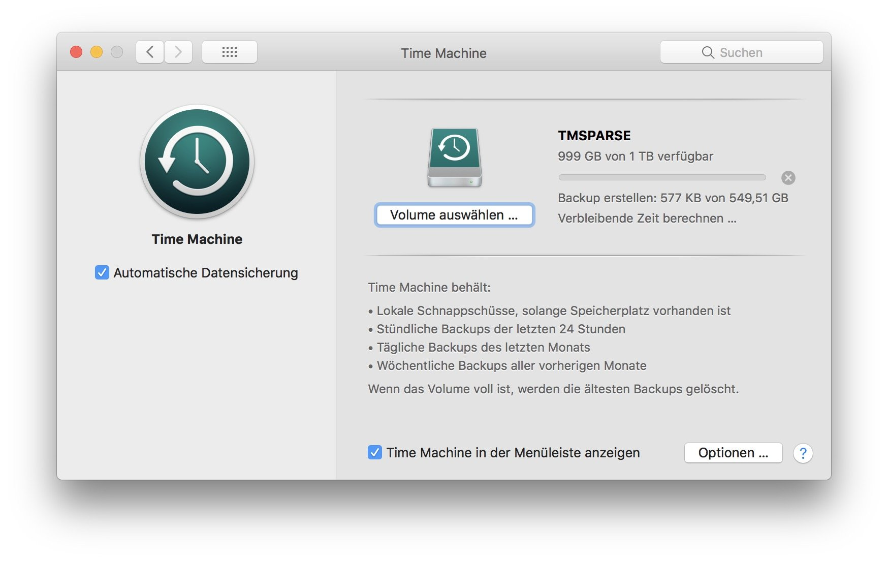 Das war es auch schon: Time Machine erstellt das Backup auf der FritzBox.