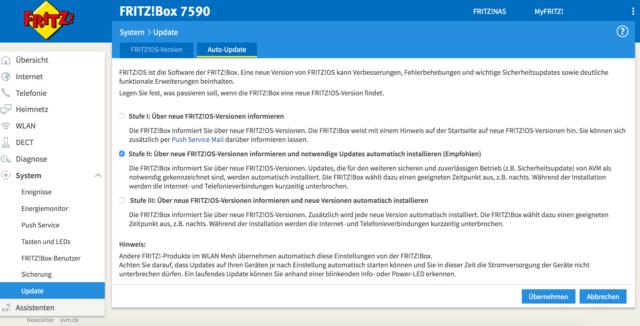Fritzbox-Updates automatisch