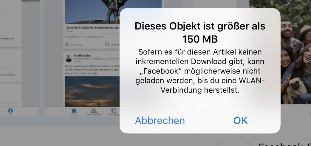 Im AppStore gibt es ein Download-Limit. (Quelle: Screenshot)