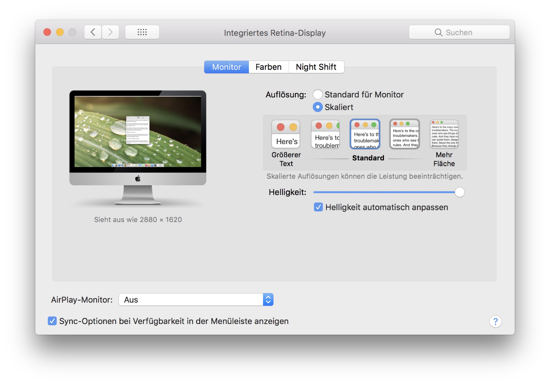 Normalerweise bietet MacOS nur fünf Auflösungmodi an.