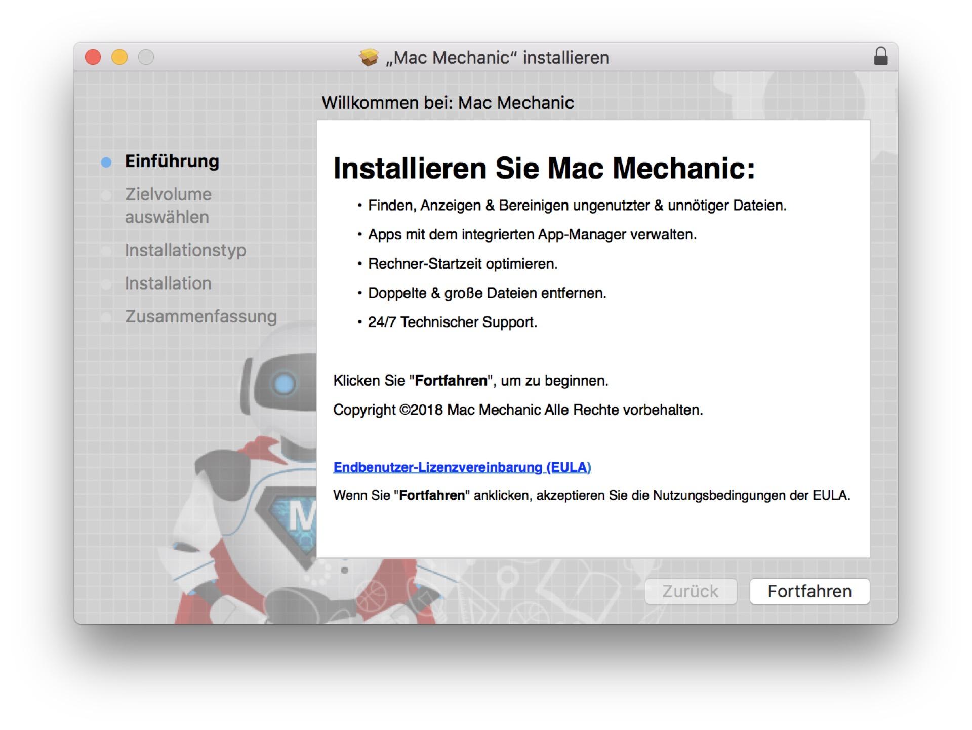 Mac Mechanic muss manuell installiert werden. Selbst schuld!