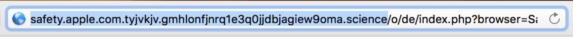 Die URL verrät: Das ist keine Apple-Seite!