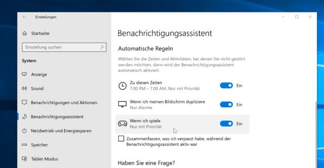 Windows 10 Nicht stören automatisch