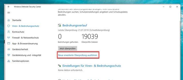 Viren Suche Windows 10