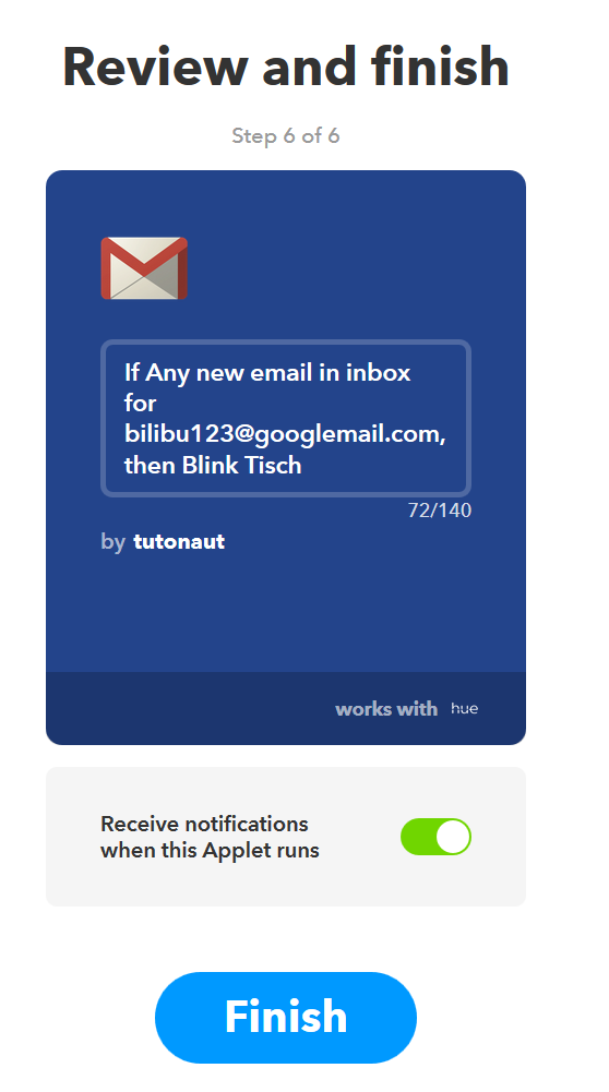 philips hue ifttt gmail