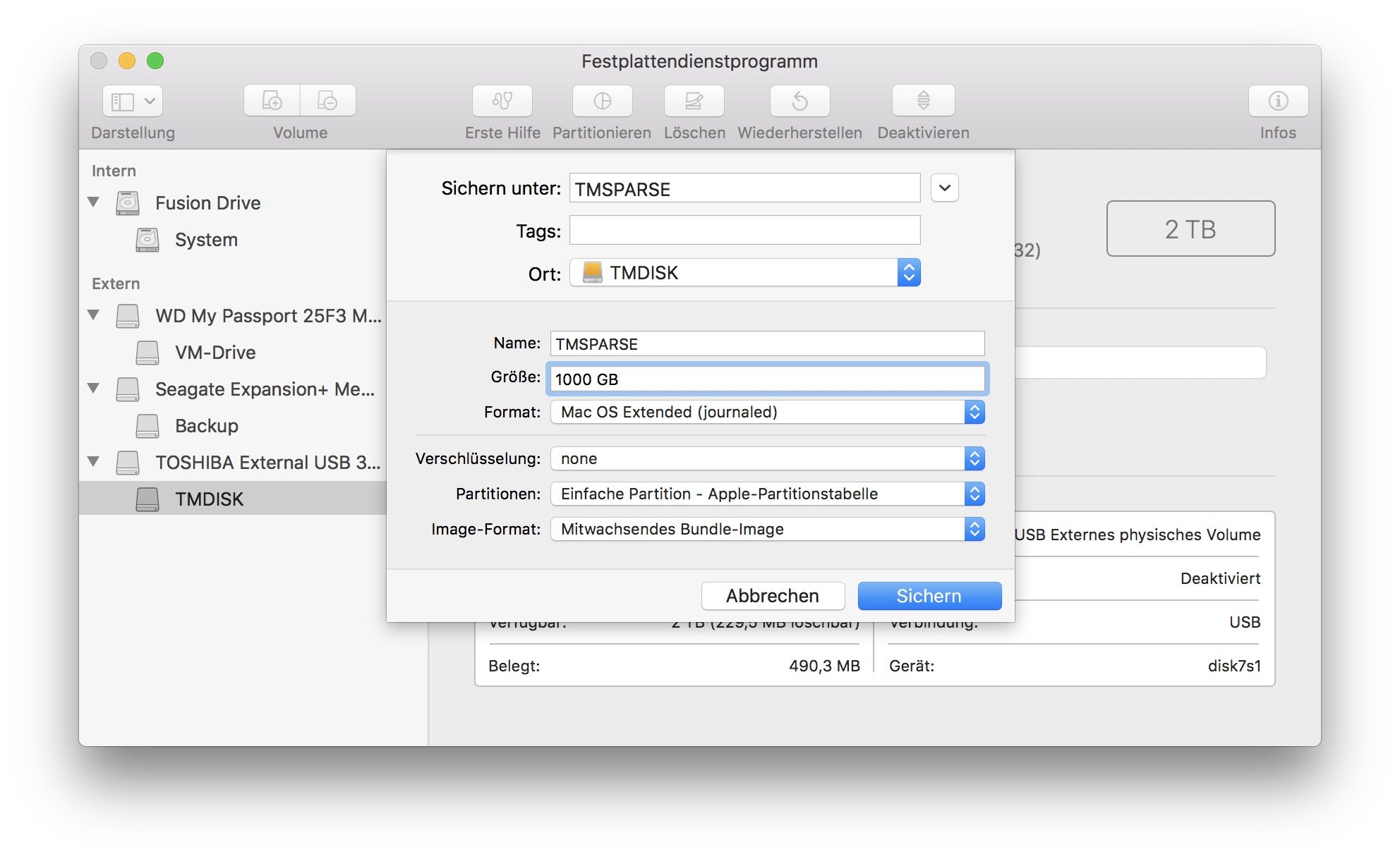 Mit dem passenden Sparsebundle erstellt Ihr das eigentliche Time-Machine-Volume für die Fritz-NAS.
