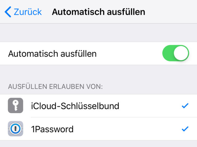 1password AutoFill iOS 12